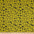 Kaufman Psychedelia  Leaves, Circles, Dots, Mustard/Grey
