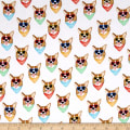 Kaufman Woof Tropical, Flowers, Dogs Panel  White