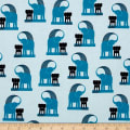 Kaufman Geo Zoo Retro Elephants Blue