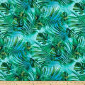 Pine Crest Fabrics Athletic Knit Botanical Leaves on Olympus Turquoise Green