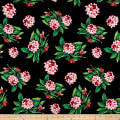 Pine Crest Fabrics Spring Flowers on Olympus Athletic Double Knit Black/Green