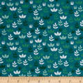 Kaufman Safari Soiree Leaves Teal