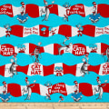 Robert Kaufman The Cat In The Hat Cat Stripe Aqua