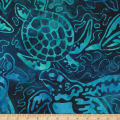 Kaufman Totally Tropical Turtle Collage Ocean