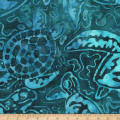 Kaufman Totally Tropical Turtle Collage Teal