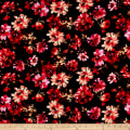 Liverpool Double Knit Bohemian Floral Black/Poppy/Peach