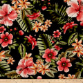 Double Brushed Printed Jersey Knit Tropical Floral Black/Coral/Rust