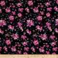 Bubble Crepe English Floral Black/Mauve/Rose