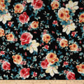 Liverpool Double Knit Retro Floral Black/Coral/Pink