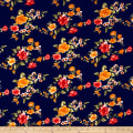 Double Brushed Printed Jersey Knit English Floral Navy/Rust/Poppy