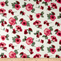 Double Brushed Printed Jersey Knit Contemporary Floral Ivory/Poppy/Sage