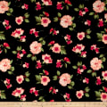 Double Brushed Printed Jersey Knit Contemporary Floral Black/Coral/Sage