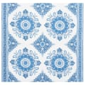 Schumacher Montecito Medallion 100% Linen Double Border Indigo
