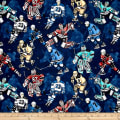 QT Fabrics Face Off Hockey Players Navy