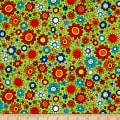 QT Fabrics House On The Hill Flowers Light Green