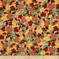 QT Fabrics North Woods Leaves & Pinecones Beige
