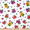 QT Fabrics Brooke Large Tossed Floral White