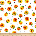 Quilting Treasures Brooke Small Tossed Floral White/Orange