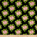 QT Fabrics Hatters Tea Party Rose Allover Black