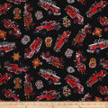 Quilting Treasures 5 Alarm Firetrucks & Shields Black