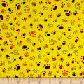 QT Fabrics Party Animals Paw Prints Yellow