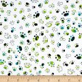 QT Fabrics Party Animals Paw Prints White/Blue