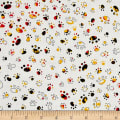 QT Fabrics Party Animals Paw Prints White/Red