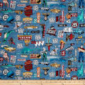 Quilting Treasures Motorin' Roadside Attractions Blue