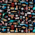 QT Fabrics Motorin' Roadside Attractions Black