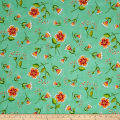 QT Fabrics Love Grows Here Flower Toss Green