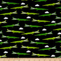 QT Fabrics On The Road Alligators Black
