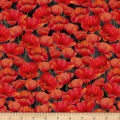 Wilmington Scarlet Dance Packed Poppies Black