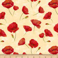 Wilmington Scarlet Dance Poppies Allover Tan