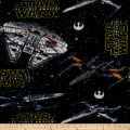 Fleece Star Wars VII - Heroes Ships Black