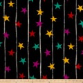 French Couture Silk Crepe de Chine Stars Black Multi