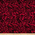 100% European Linen Floral Paisley Red/Black