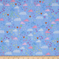 Timeless Treasures Metallic Fairy Trail Clouds & Hearts Blue