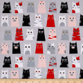Timeless Treasures Box Cats Grey