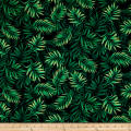Timeless Treasures Island Breeze Tropical Fronds Black