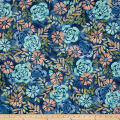 Timeless Treasures Tranquility Flowers Denim