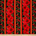 Timeless Treasures Tuscan Poppies Poppy Stripe Black