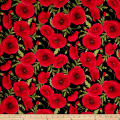 Timeless Treasures Tuscan Poppies Tossed Poppies Black