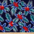 Telio Picasso Rayon Poplin Tropical Floral Navy