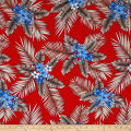 Telio Picasso Rayon Poplin Tropical Floral Red