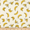 Telio Playtime Cotton Poplin Print Banana White