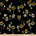 Telio Bouquet Knit Velvet Floral Embroidered Black/Yellow