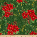 Deck The Halls Poinsettia Metallic Green