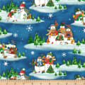 Winter Wishes Snowman Scenic Deep Blue
