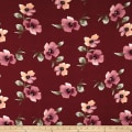 Double Brushed Jersey Knit Floral Mauve on Marsala