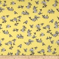 Double Brushed Jersey Knit Floral and Butterflies Yellow